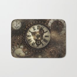 Vintage Steampunk Clocks Bath Mat