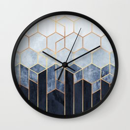 Soft Blue Hexagons Wall Clock