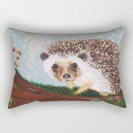 Hedgehog and Mushrooms Rectangular Pillow