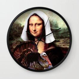 Mona Lisa Thanksgiving Pilgrim Wall Clock