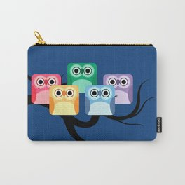 Rainbow Hooties Square Owls at Night Carry-All Pouch