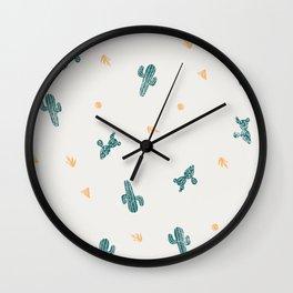 Cactus lino print Wall Clock