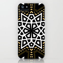 Black White + Gold Geometric Star iPhone Case