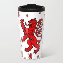 Red Heraldic Lion Expecting Rain Travel Mug