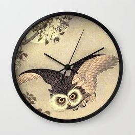 Koson Ohara - Scops Owl in Flight, Cherry Blossoms and Full Moon - Japanese Vintage Woodblock Wall Clock
