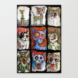9 zombie cats Canvas Print