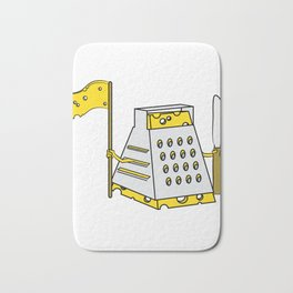 """""""Cheese Warrior"""" tee design. Perfect for cheese lover like you! Makes a nice gift to your family too Bath Mat"""