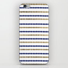 Elegant modern faux gold navy blue polka dots stripes iPhone Skin