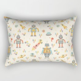 Vintage Inspired Robots in Space Rectangular Pillow