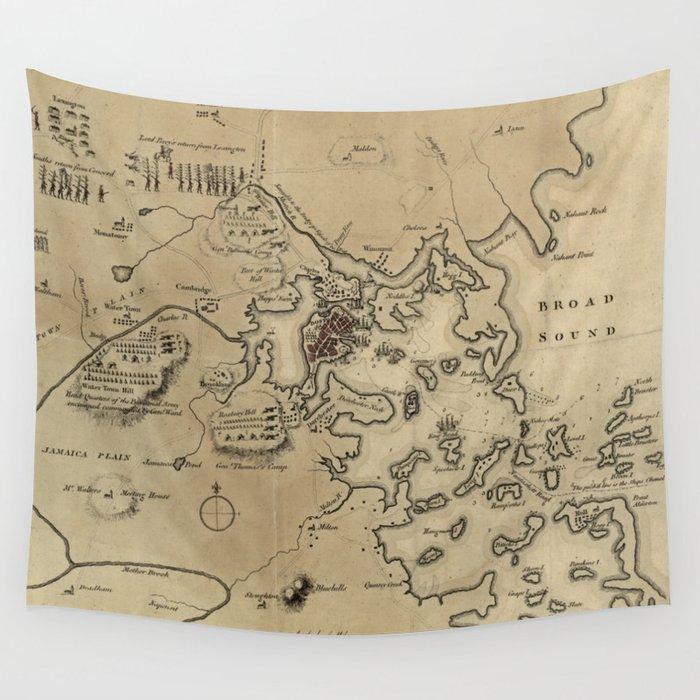 Vintage Boston Revolutionary War Map (1775) Wall Tapestry