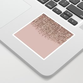 Blush Pink Rose Gold Bronze Cascading Glitter Sticker