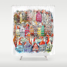 Gdansk Poland Watercolor Shower Curtain