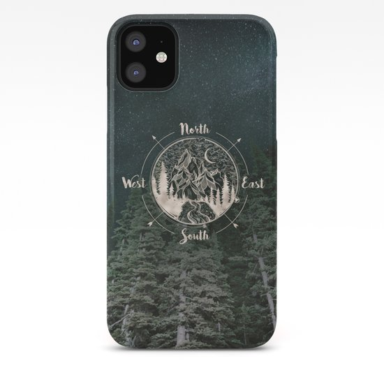 Mountains Compass Milky Way Woods Gold by cascadia