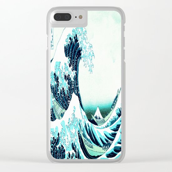 the great wave : aqua teal Clear iPhone Case