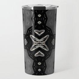 Glossy Black/Silver Gray Circular Repeat Pattern  Travel Mug
