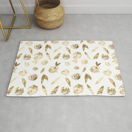 Gold Roses Rosette Pattern Golden on White Rug