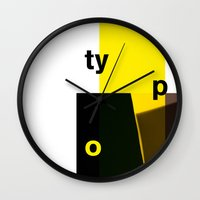 typo Wall Clocks featuring Typo by ictypo