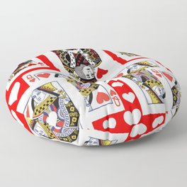 CASINO ROYAL COURT RED & WHITE HEARTS IN RED Floor Pillow