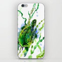 Green River Turtle Olive green Wall art iPhone Skin