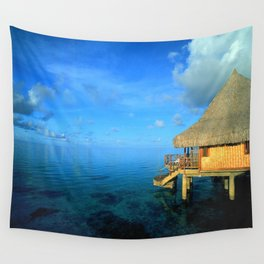 Over-the-Water Island Bungalow Wall Tapestry