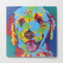 Millie the Curly Dog Metal Print