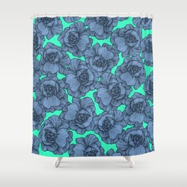 Aqua Teal Blue and Black Modern Line Art Flowers Shower Curtain