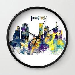 Houston city watercolor cityscape Wall Clock