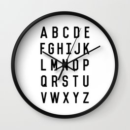 Black and White Typography Alphabet Design Poster with Monochrome Minimalist Letters Home Decor Wall Clock