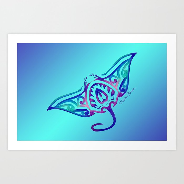 a66756bcd Tribal Manta Ray Art Print by artsytoocreations | Society6