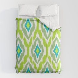 MODERN IKAT TRIBAL PATTERN | teal olive willow Comforters