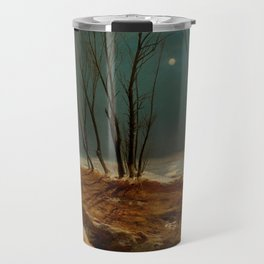 Carl Blechen - Landscape in Winter at Moonlight - German Romanticism - Oil Painting Travel Mug