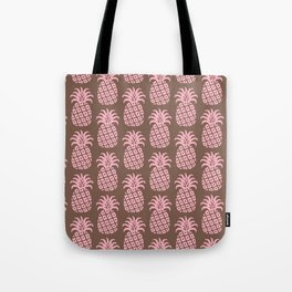 Mid Century Modern Pineapple Pattern Pink and Brown Tote Bag