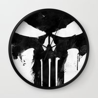 punisher Wall Clocks featuring Punisher Black by d.bjorn