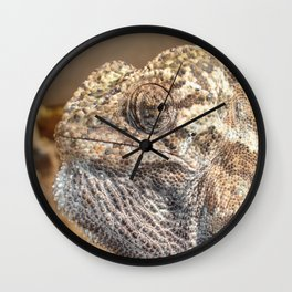 Chameleon With Sinister Facial Expression Wall Clock