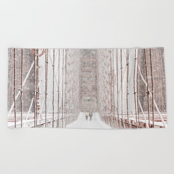 Brooklyn Bridge Snow Beach Towel