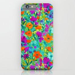 Wild Garden Teal iPhone Case