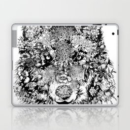 floral animals -black and white wolf Laptop & iPad Skin