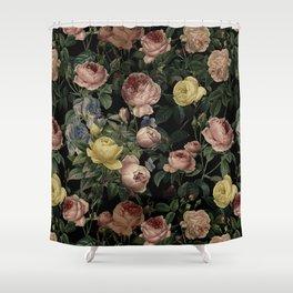 Vintage Roses and Iris Pattern - Dark Dreams Shower Curtain