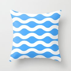 Wavey Lines White & Blue Throw Pillow