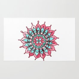 Pink and Turquoise Mandala Watercolor Painting Rug