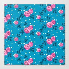 Roses on blue Canvas Print