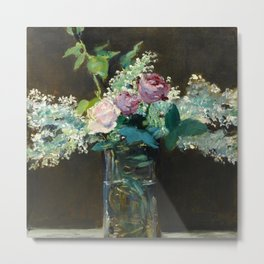 """Édouard Manet """"Vase of White Lilacs and Roses"""" Metal Print"""