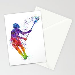 Lacrosse Girl Colorful Watercolor Sports Art Gift Stationery Cards