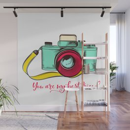 Retro camera. Fashion design, you are my best friend Wall Mural