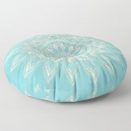 Elegant White Gold Mandala Sky Blue Design Floor Pillow