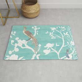 Chinoiserie Panels 4-5 White Scene on Teal Raw Silk - Casart Scenoiserie Collection Rug