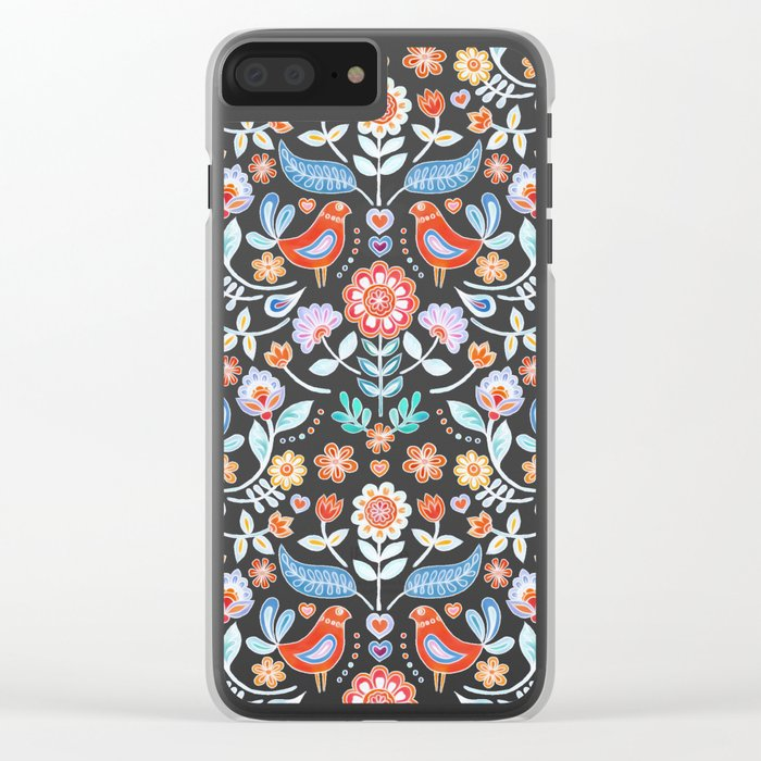 Happy Folk Summer Floral on Navy Clear iPhone Case