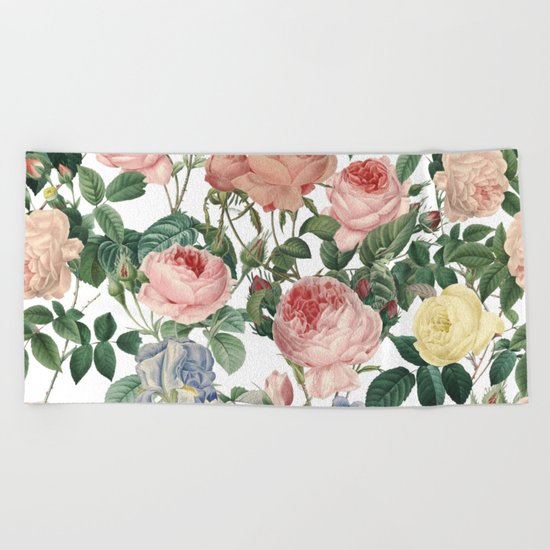 Vintage Roses and Iris Pattern - Flower Dreams by #UtART Beach Towel