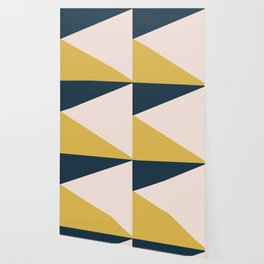 Jag. Minimalist Geometric Color Block in Navy Blue, Mustard Yellow, and Pale Blush Pink Wallpaper