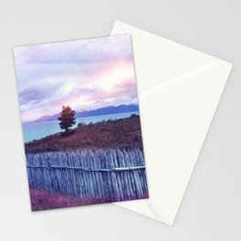 Sunset and lone tree Stationery Cards